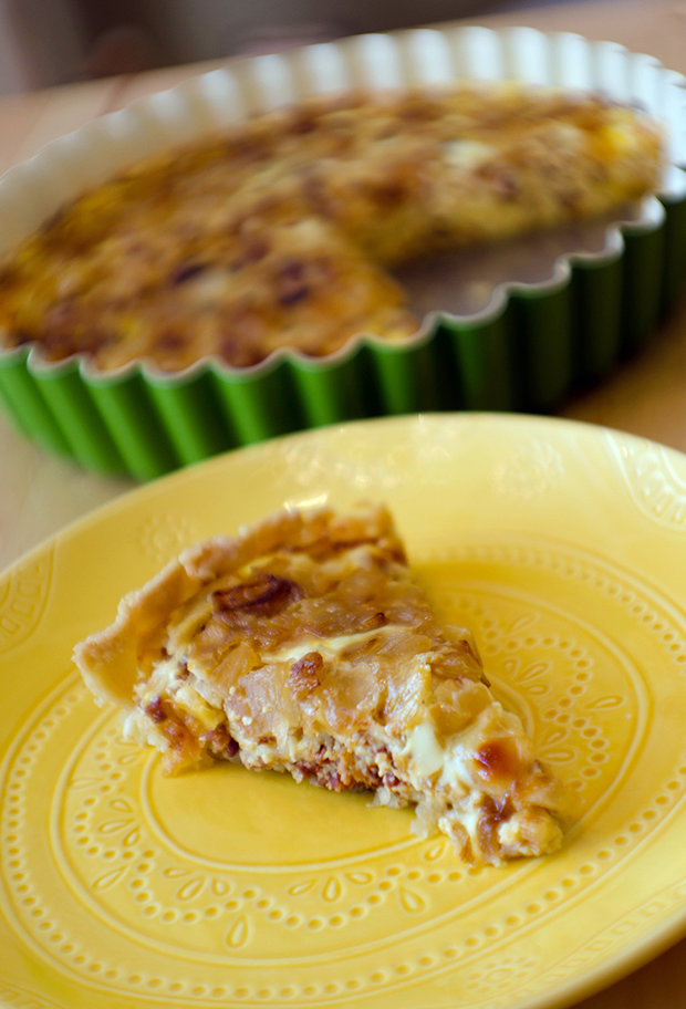 Bacon, Caramelized Onion, & Two-Cheese Quiche