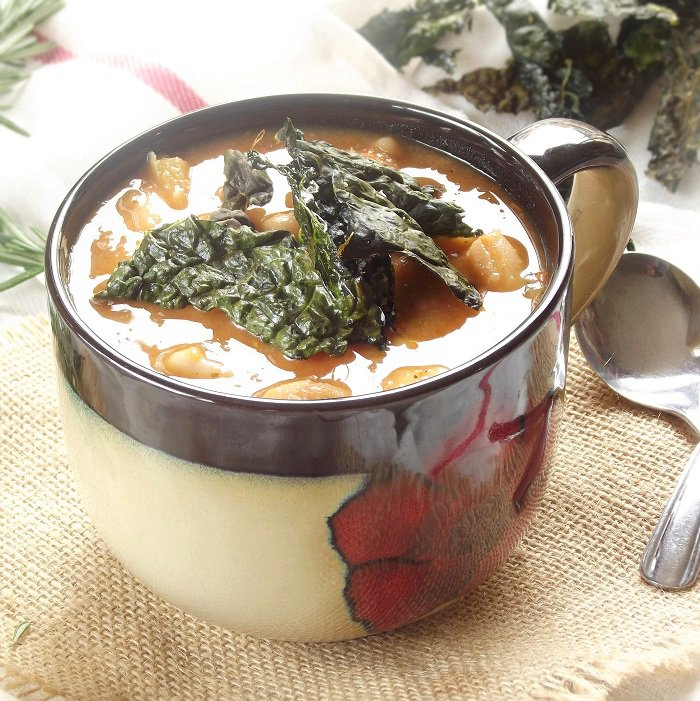 Tuscan White Bean Soup with Kale Chips