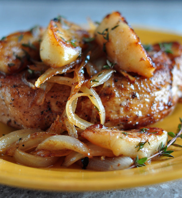 Pork Loin Chops with Apples and Onions