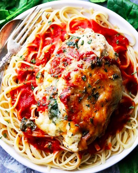 Amazing Saucy Spinach And Cottage Cheese Stuffed Chicken
