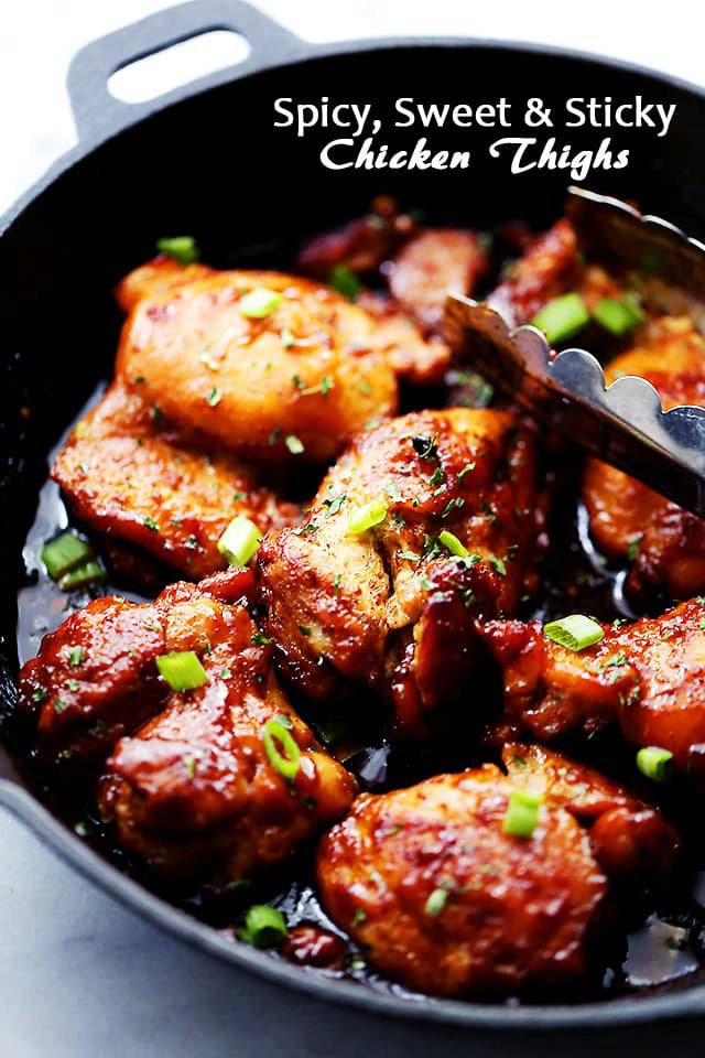 Spicy, Sweet and Sticky Chicken Thighs