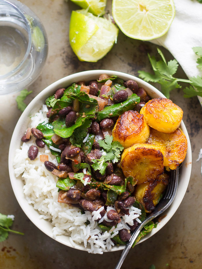 Cuban-Inspired Black Beans and Rice with Collard Greens and Pan-Fried Plantains