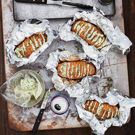 Home Vegetables Potatoes            Grill-Baked Potatoes with Chive Butter                              Tom Mylan
