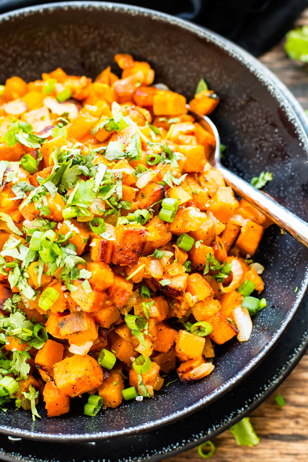 Easy Skillet Sweet Potatoes with Cilantro