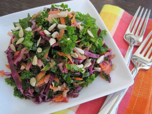 Raw Kale Salad with Apples & Purple Cabbage