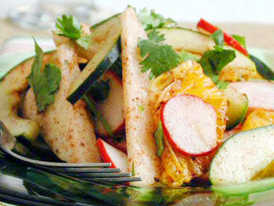 Rustic Jicama Appetizer with Red Chile and Lime