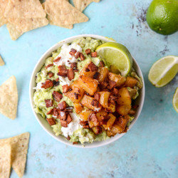 Caramelized Pineapple, Bacon and Goat Cheese Guacamole
