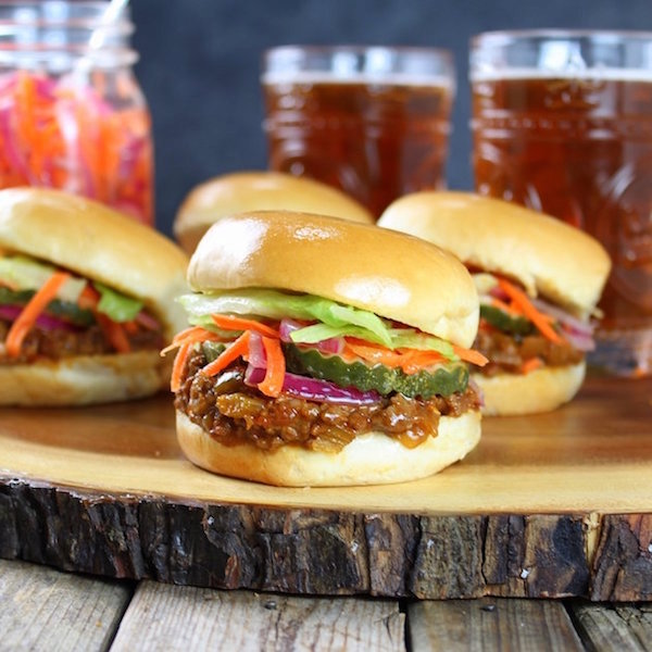 Asian Sloppy Joes with Pickled Carrots & Onions