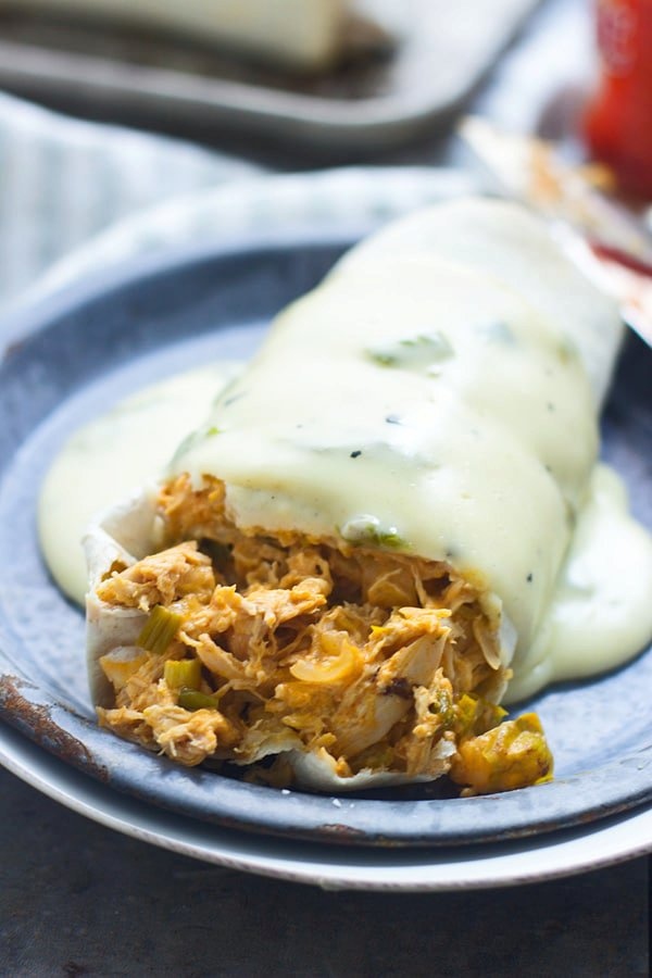 Buffalo Chicken Burritos with Hatch Pepper Queso