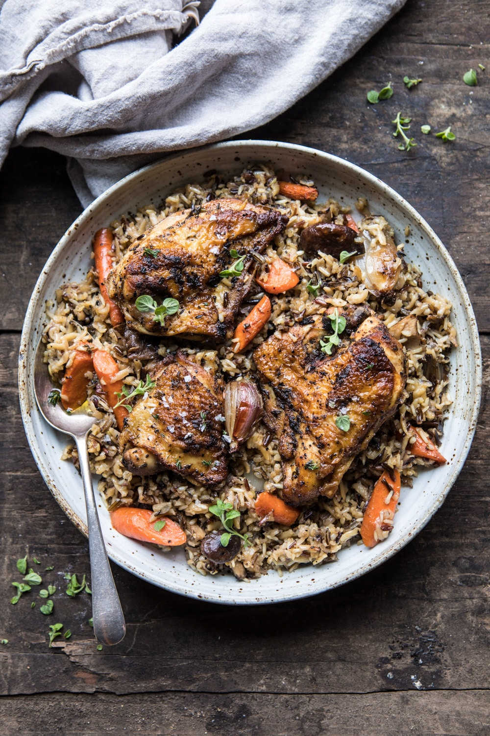 Slow Cooker Herbed Chicken and Rice Pilaf