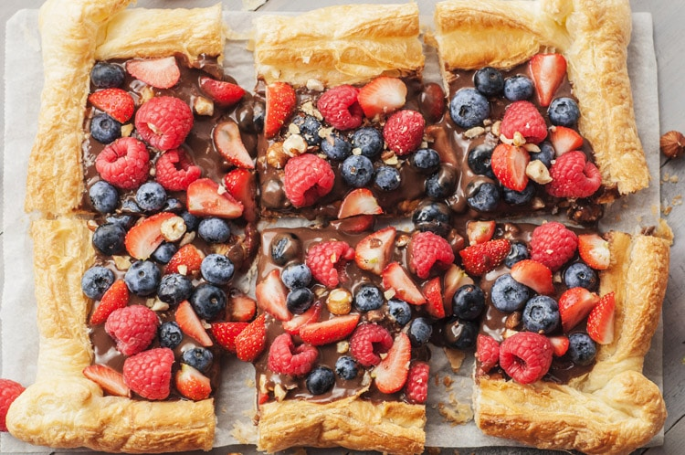 Chocolate Hazelnut and Berry Puff Pastry Tart