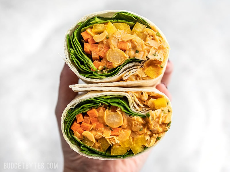 Sriracha Chickpea Salad Wraps