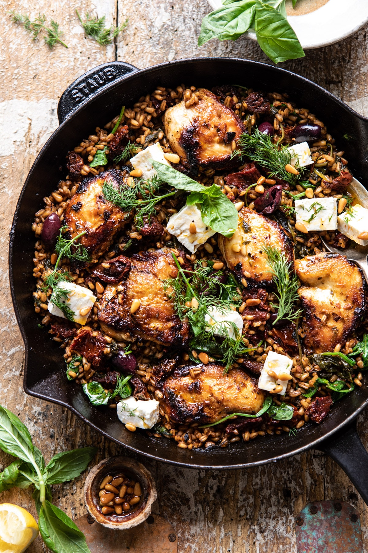 One Skillet, Greek Sun-Dried Tomato Chicken and Farro