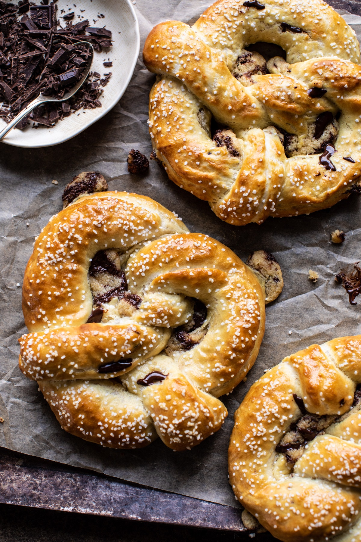 Chocolate Chip Cookie Stuffed Soft Pretzels