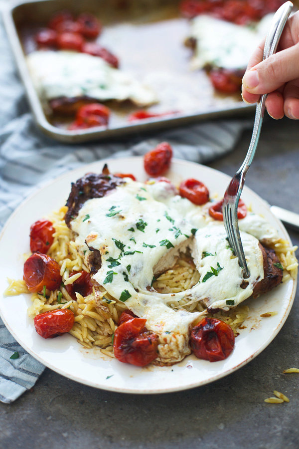 Balsamic Chicken with Mozzarella and Burst Cherry Tomatoes