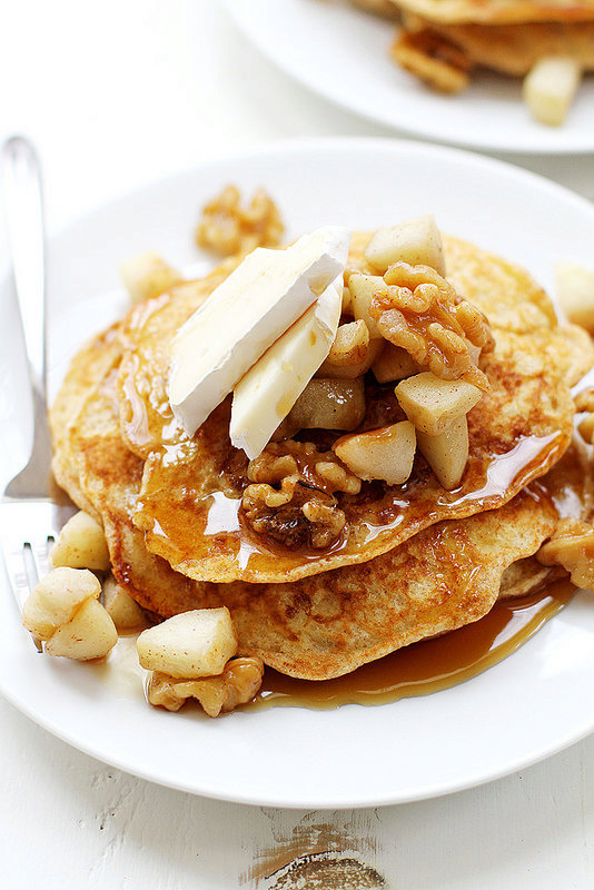 Apple, Walnut and Brie Bread Pudding Pancakes