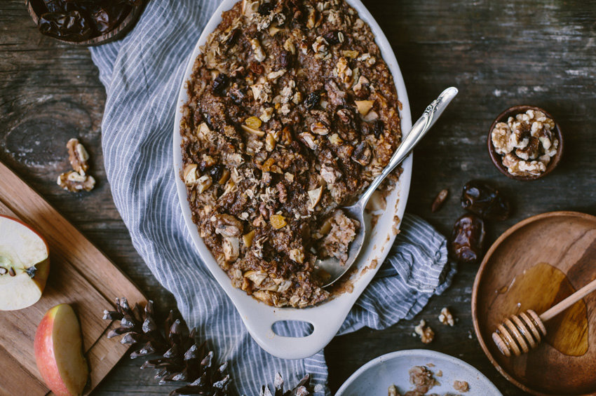 Baked Oatmeal with Date Butter, Apples and Walnuts {Gluten Free + Vegan}