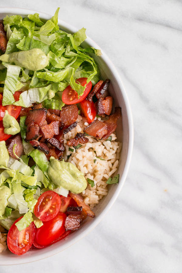 BLT Rice Bowl with Avocado Lime Dressing