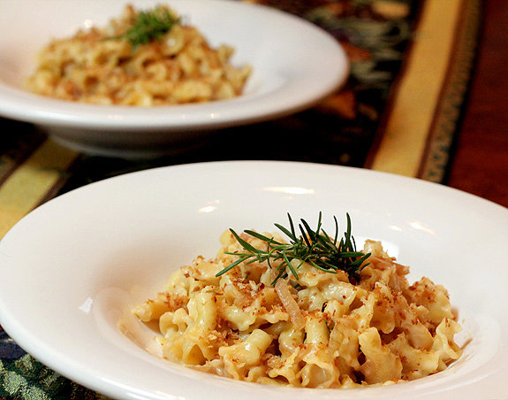 Golden Macaroni and Cheese with Caramelized Onions