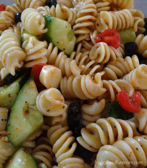 Colorful Pasta Salad Made With Vegetables and Salad Supreme Recipe!
