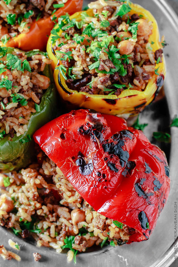 Stuffed Bell Pepper Recipe with Rice, Spiced Ground Beef and Chickpeas