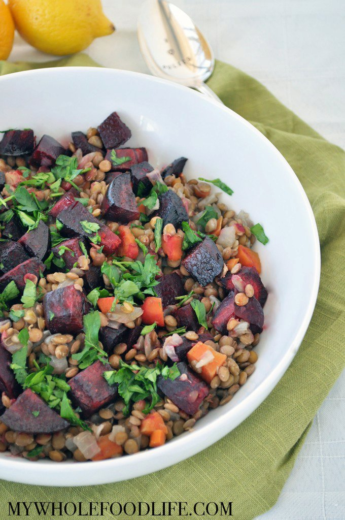 Lentils with Roasted Beets and Lemon