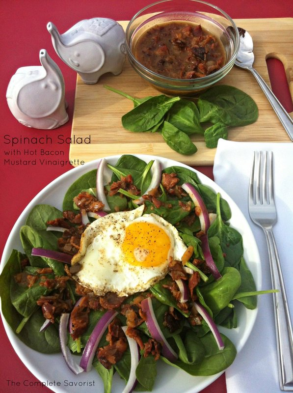 Spinach Salad with Hot Bacon Mustard Vinaigrette