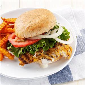 Hearty Breaded Fish Sandwiches Recipe- 292 calories