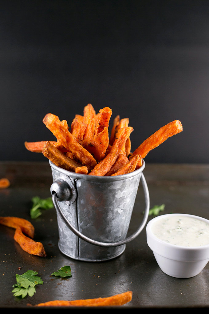Indian Spiced Sweet Potato Fries with Parsley Cashew Dip