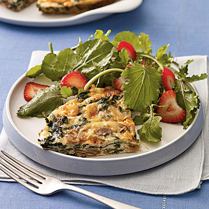 Low calorie Mushroom and Spinach Frittata With Smoked Gouda