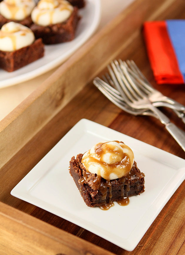 Whiskey Brownies with Buttercream and Whiskey Sauce