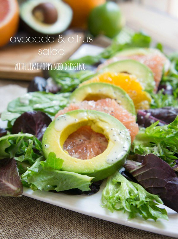 Avocado & Citrus Salad with Creamy Lime Poppy Seed Dressing