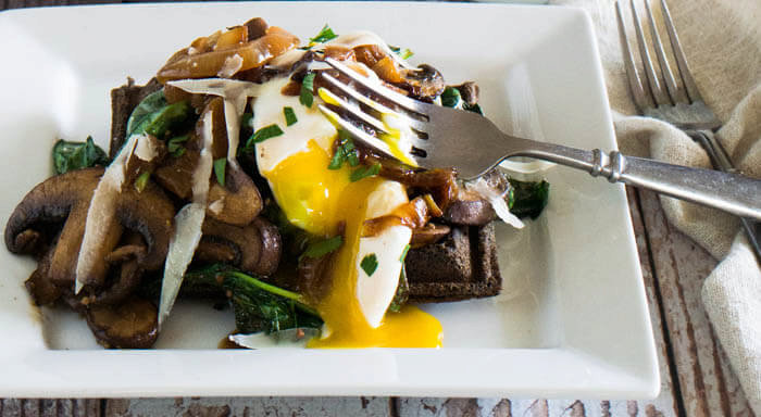 Buckwheat Waffle With Spinach, Crimini, and Caramelized Onion