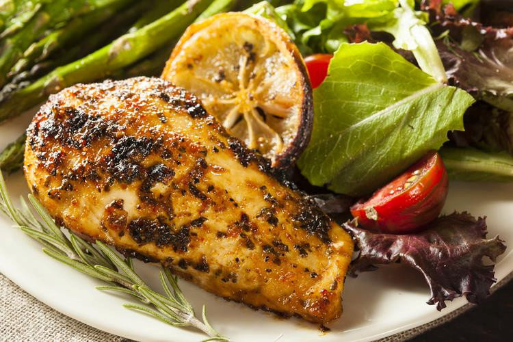 Lemon Chicken Breasts with Asparagus & Salad