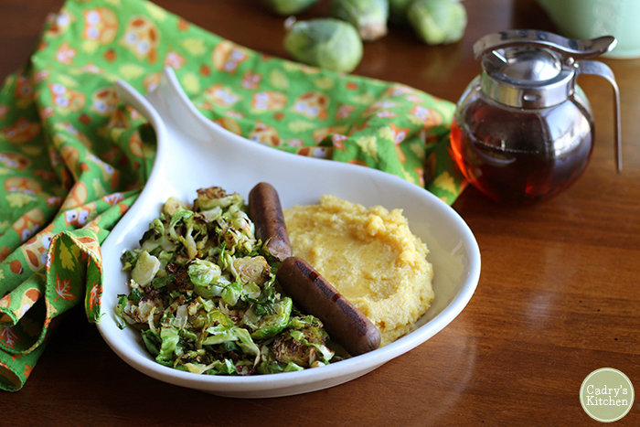Polenta breakfast with Brussels sprouts & vegan sausage