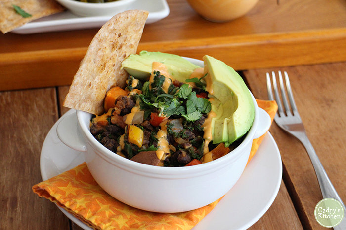 Sweet Potato & Black Bean Hash with Chipotle Crema