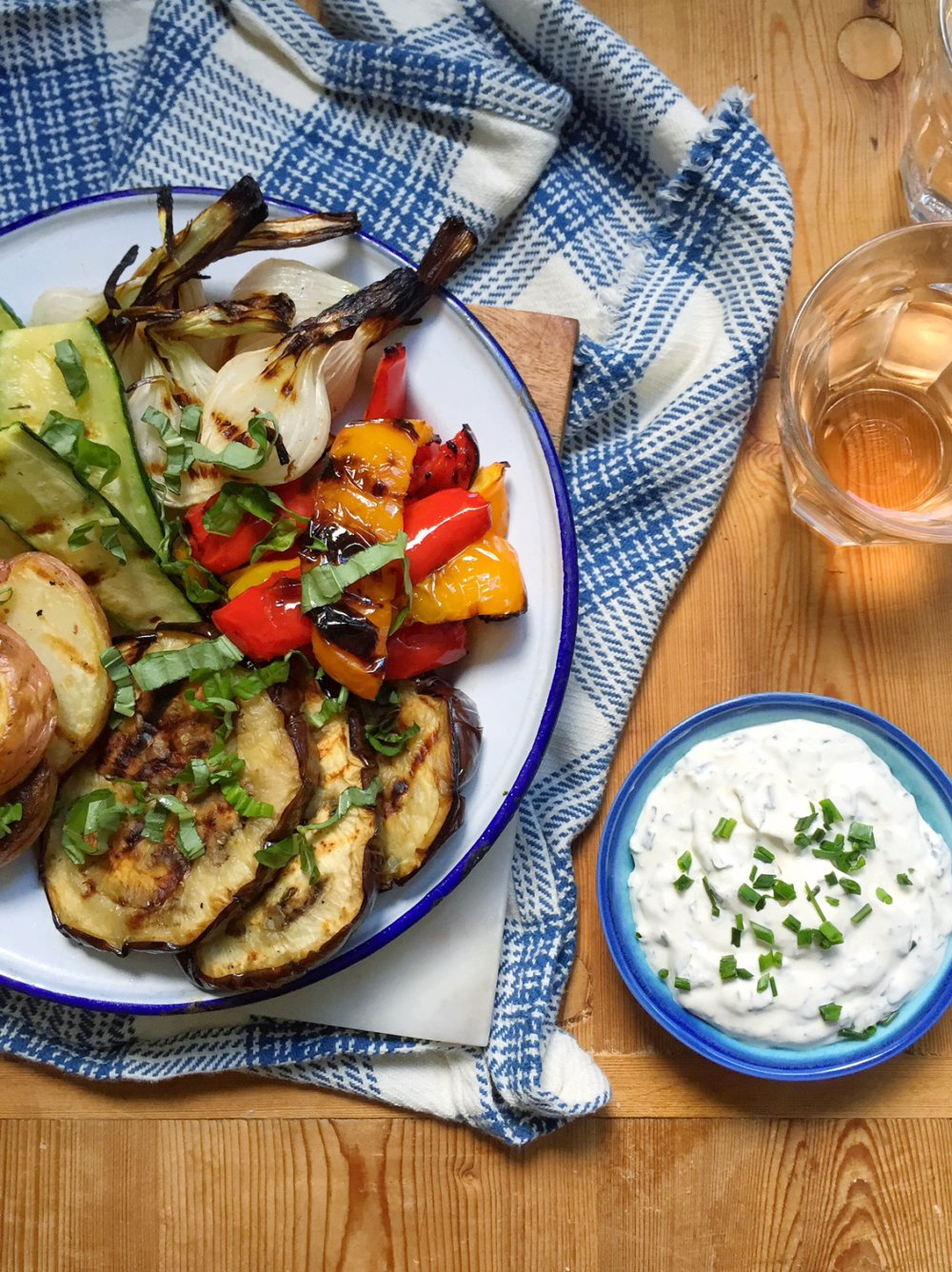 Herb Crème Fraiche with Grilled Vegetables