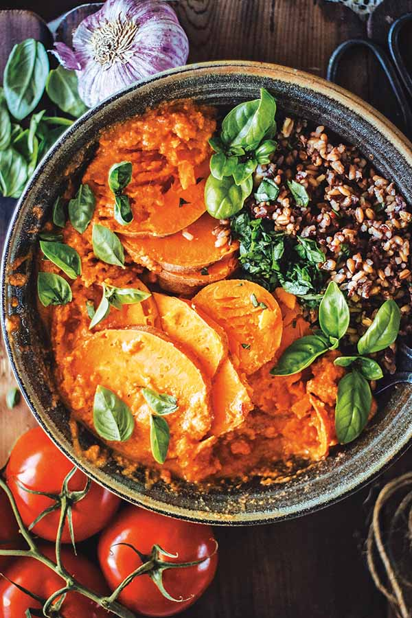 Steamed Sweet Potatoes with Wild Rice, Basil and Tomato Chili Sauce