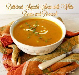 Butternut Squash Soup with White Beans and Broccoli
