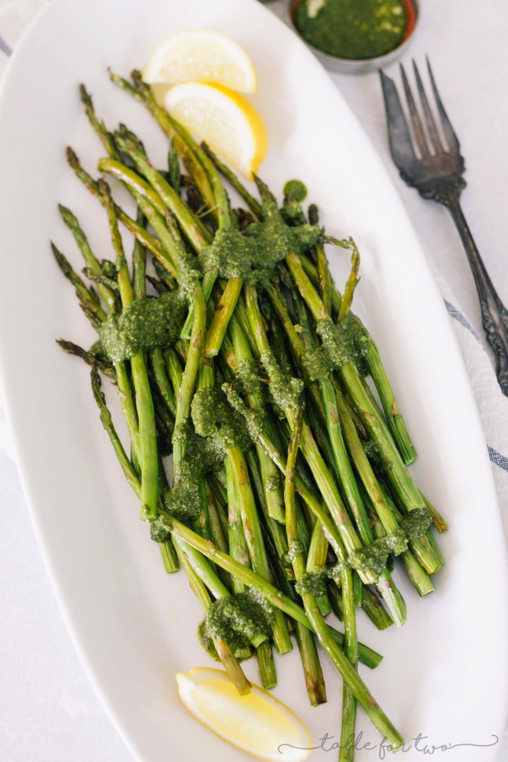Roasted Lemony Pesto Asparagus