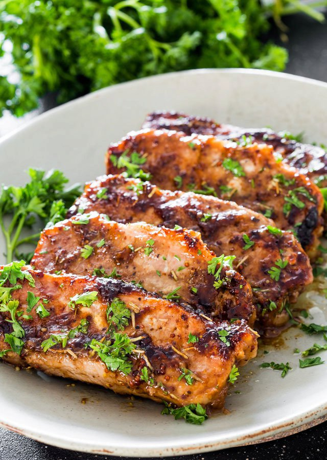 Mustard Balsamic Pork Chops with Rosemary