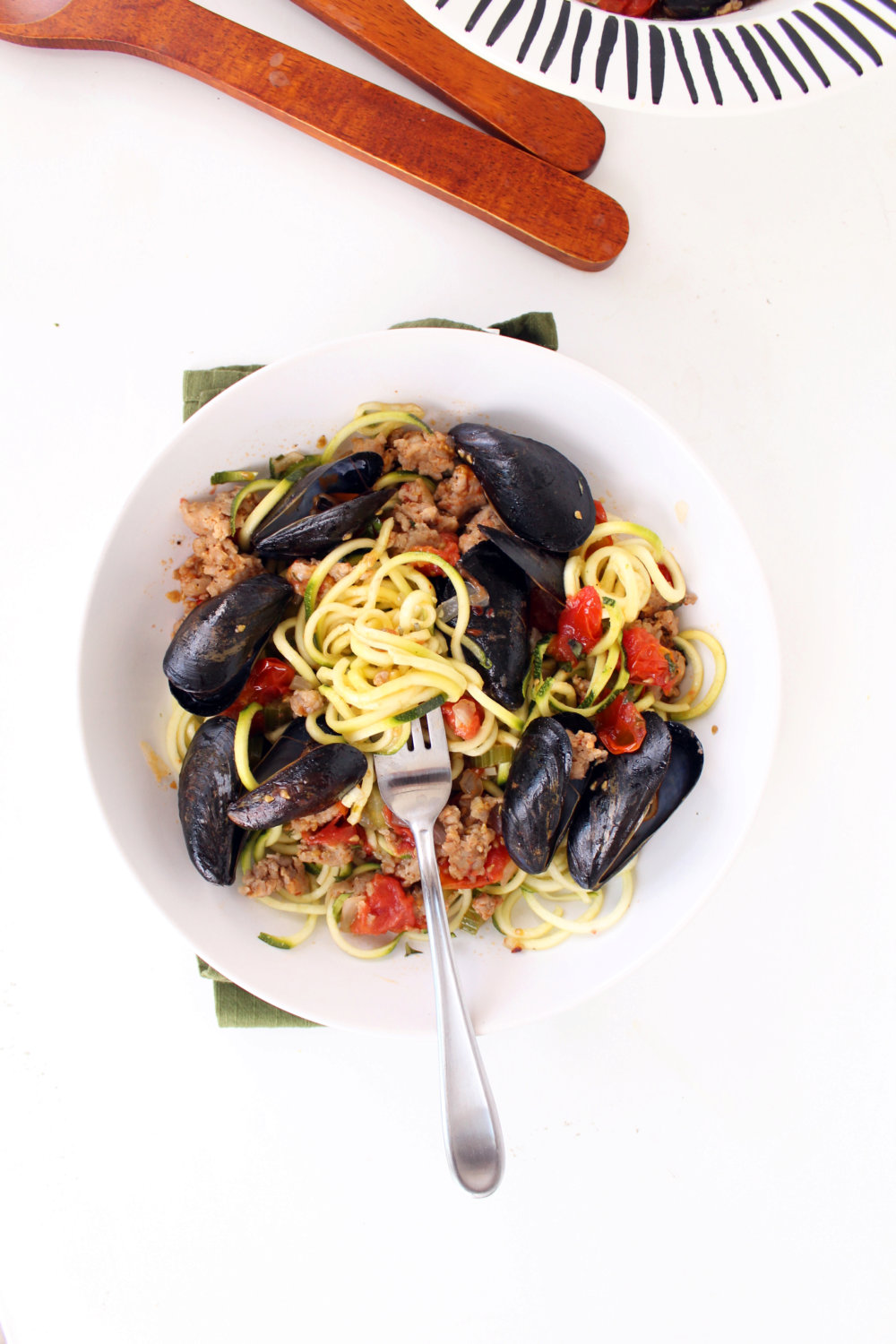 Mussels and Sausage Zucchini Pasta