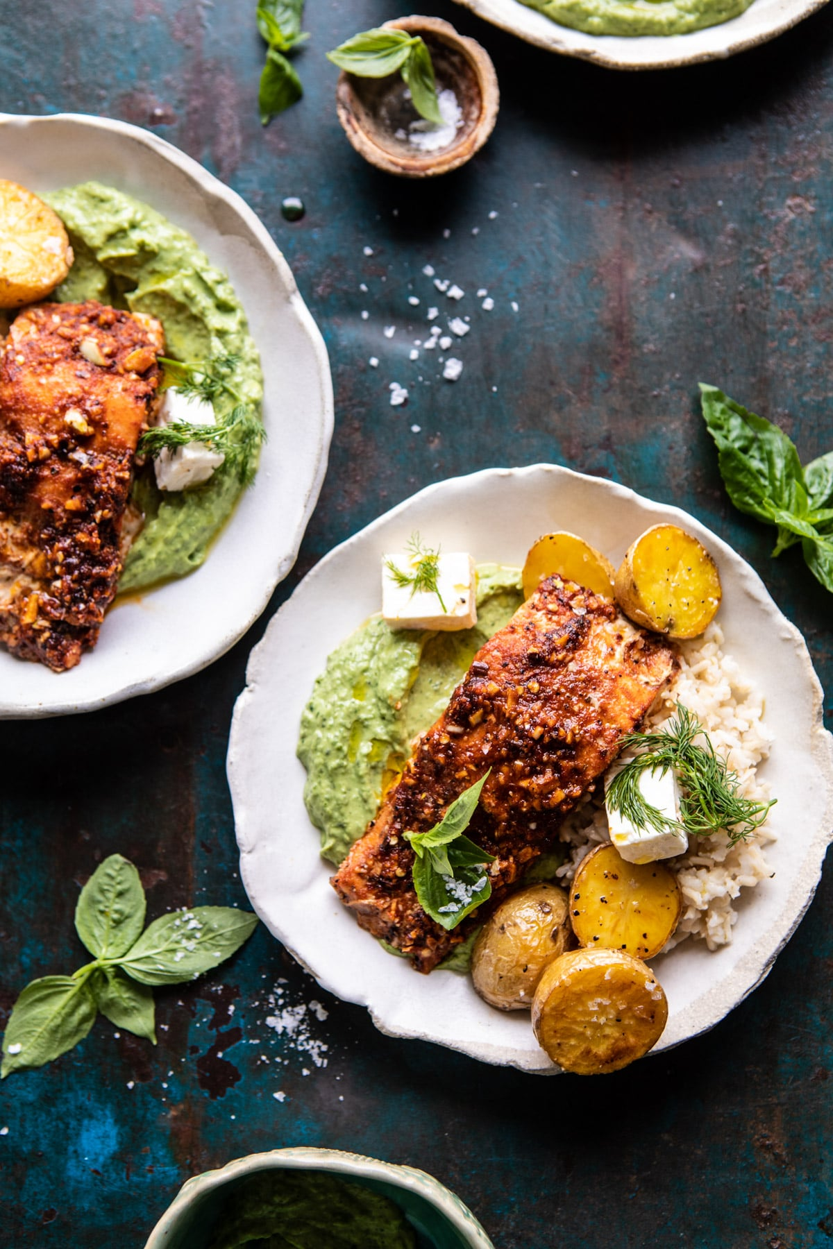Sheet Pan Blackened Salmon and Potato Bowl with Avocado Goddess Sauce