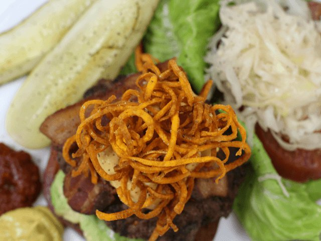 Video: Bison Burgers with Sweet Potato Haystack and Chipotle Mayo