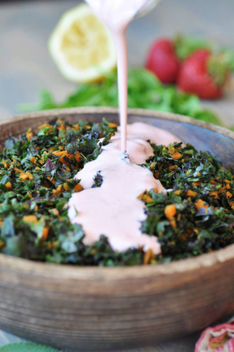 Red Kale & Carrot Slaw with Strawberry Sage Dressing