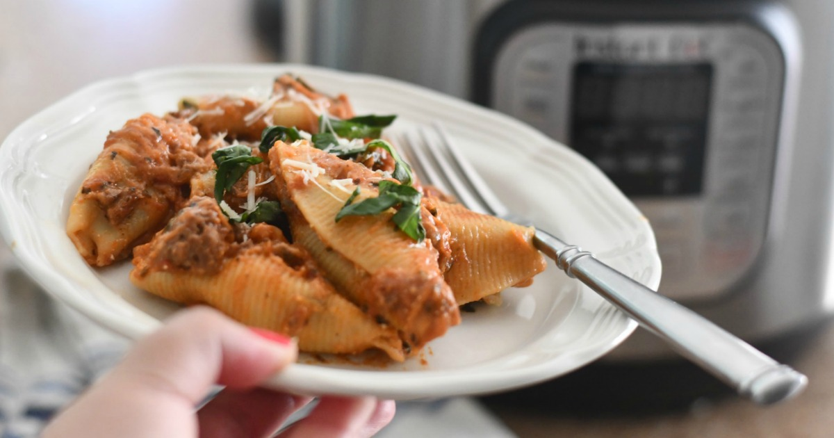 Instant Pot Stuffed Shells with Meat Sauce