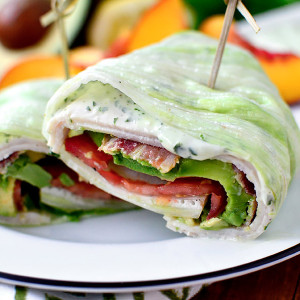 California Turkey and Bacon Lettuce Wraps with Basil-Mayo California Turkey and Bacon Lettuce Wraps with Basil-Mayo (Video)