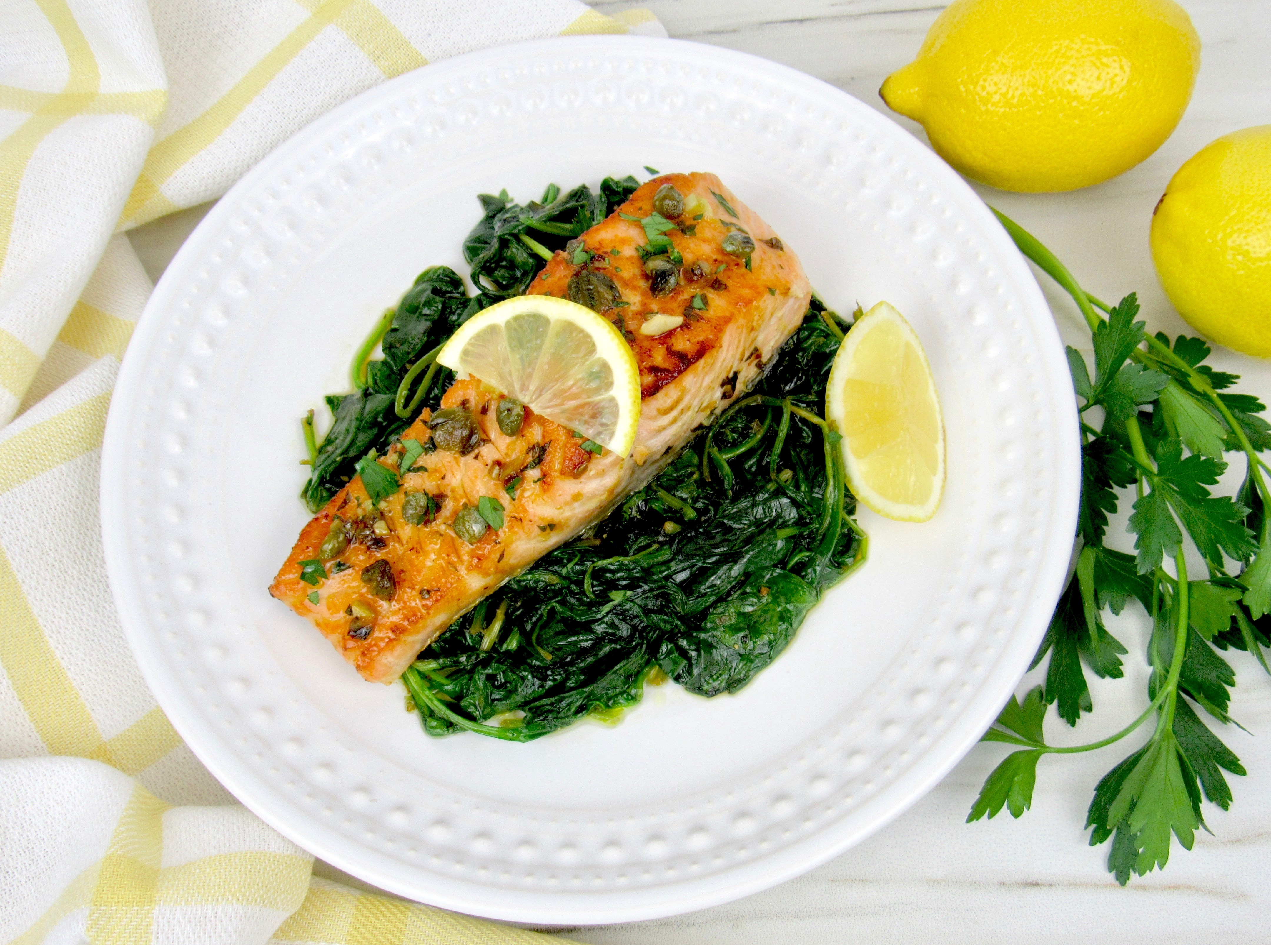 Easy Salmon Piccata with Spinach - Keto and Low Carb
