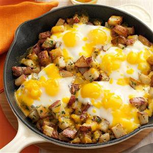 Baked Cheddar Eggs & Potatoes Recipe