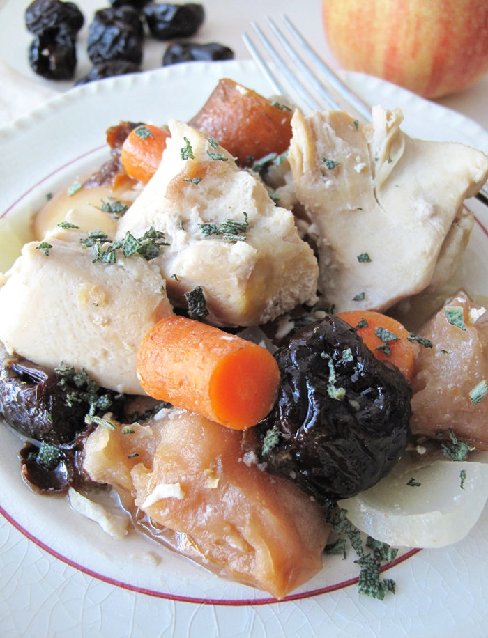 AIP / Paleo Crockpot Chicken with Plums, Carrots and Apples.